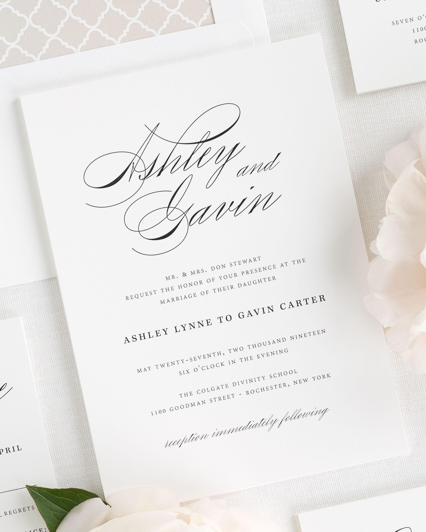 Samples Of Wedding Invites: Timeless Script Wedding Invitations