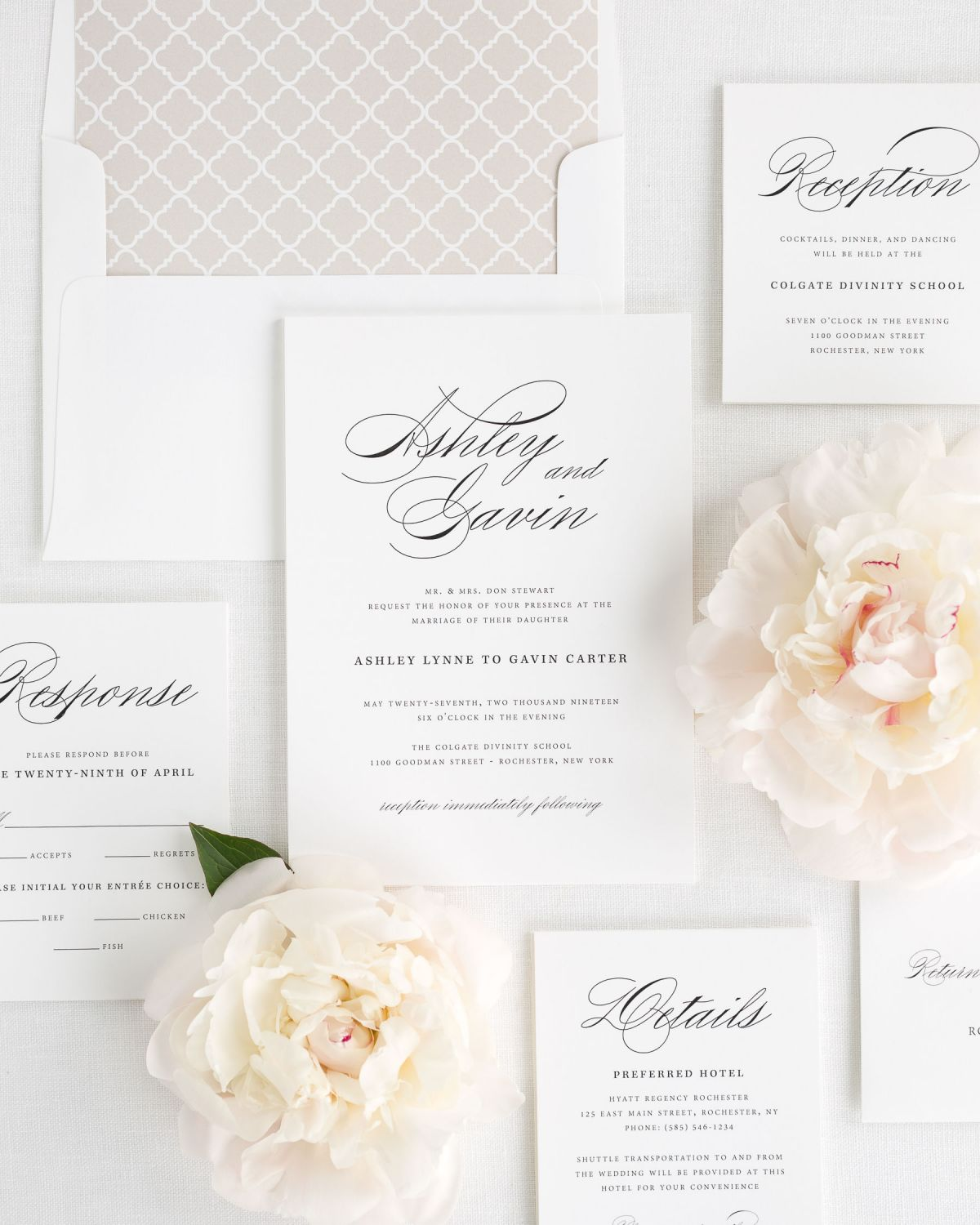 Wedding Invitation Set with Large Script Names and Trellis Envelope Liner