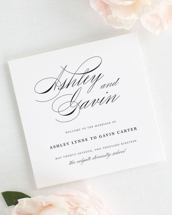 Timeless Script Wedding Programs