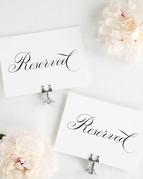Timeless Calligraphy Reserved Signs