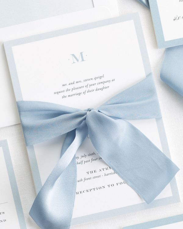 Upscale Monogram Ribbon Wedding Invitations