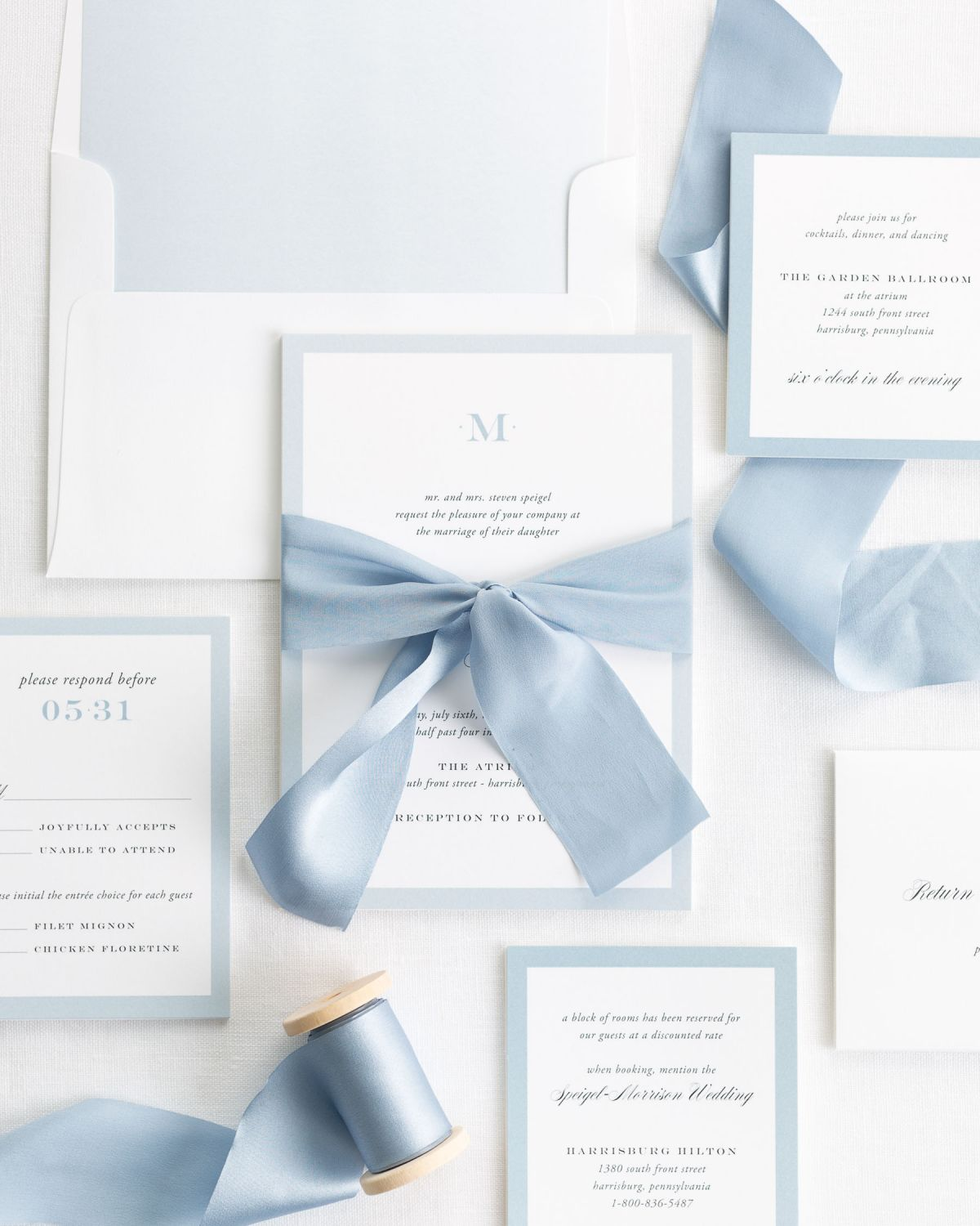 Upscale Monogram Ribbon Wedding Invitations - Ribbon Wedding ...