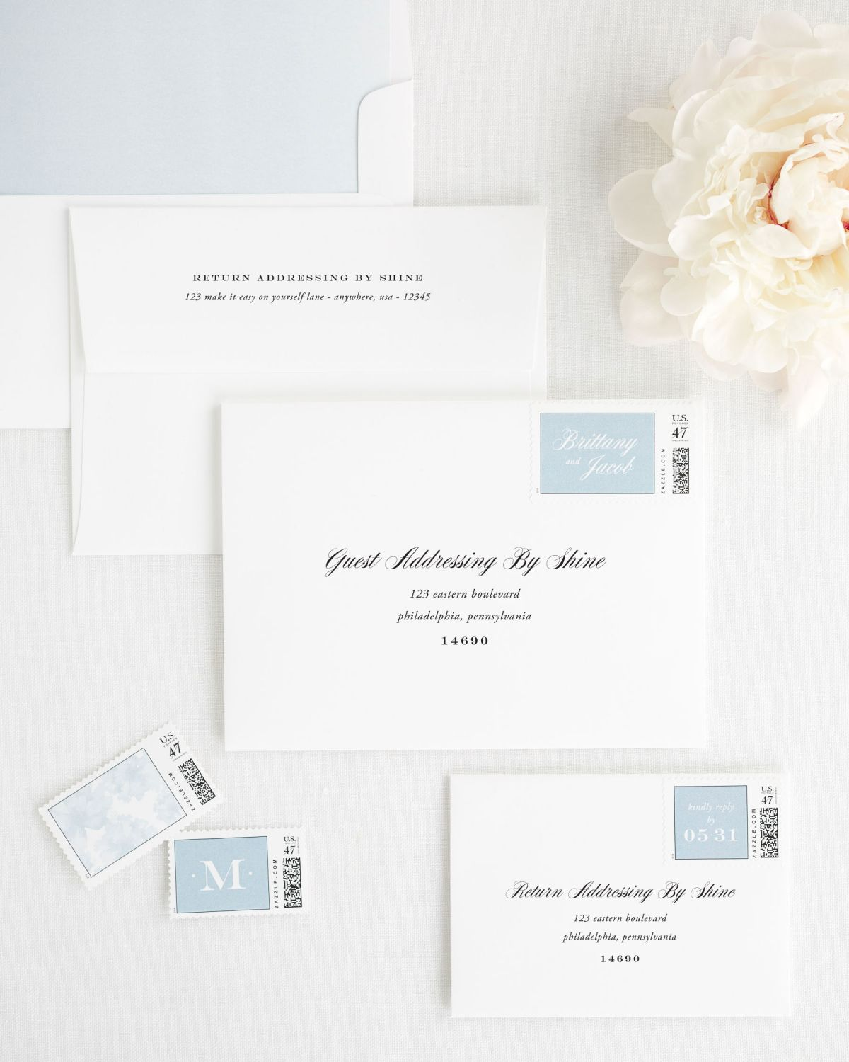 Wedding Invitaiton Envelopes with Address Printing and Matching Stamps