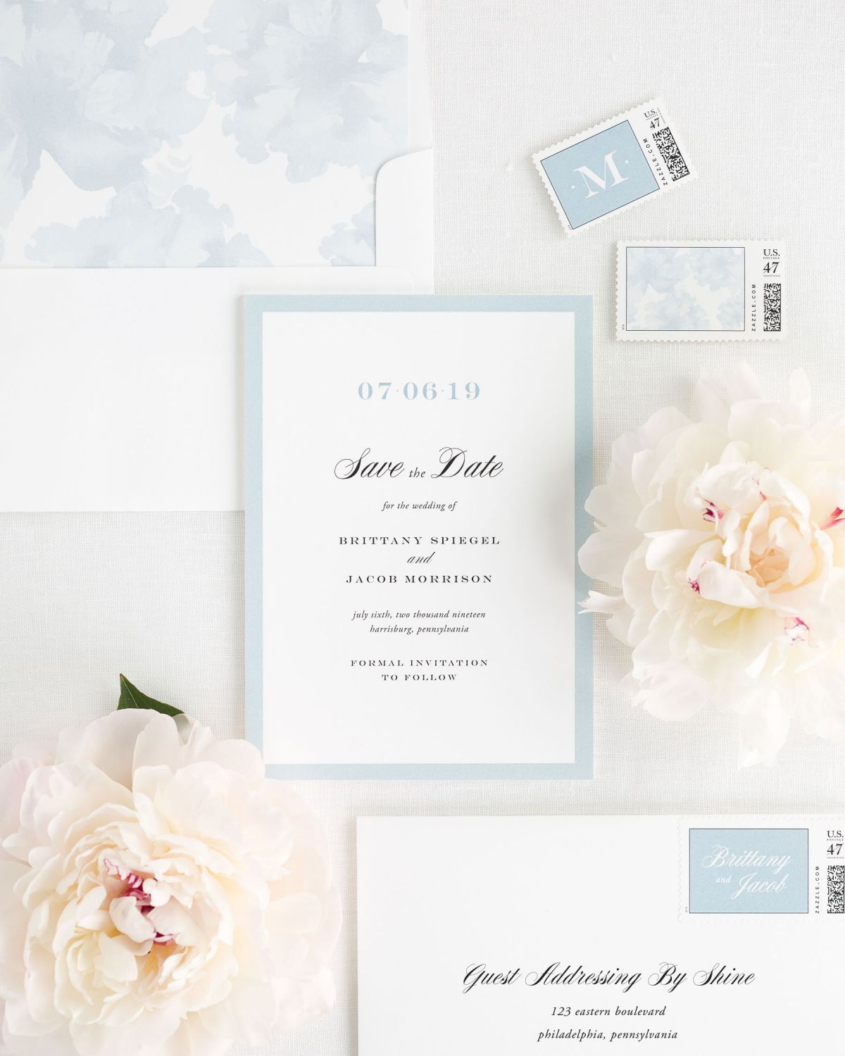 Save the Date with Ice Blue Envelope Liner and Personalized Stamps