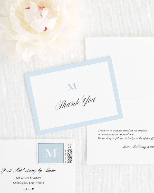 Upscale Monogram Thank You Cards
