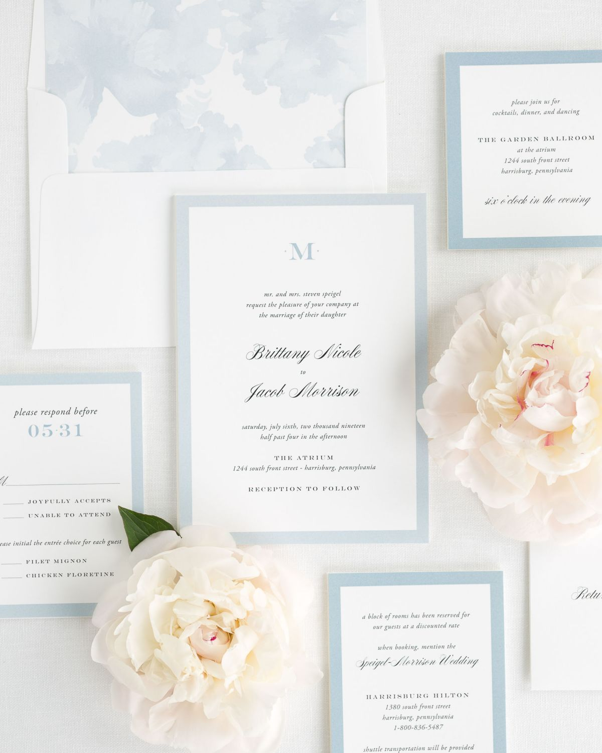 Wedding Invitation Package with Ice Blue Envelope Liner