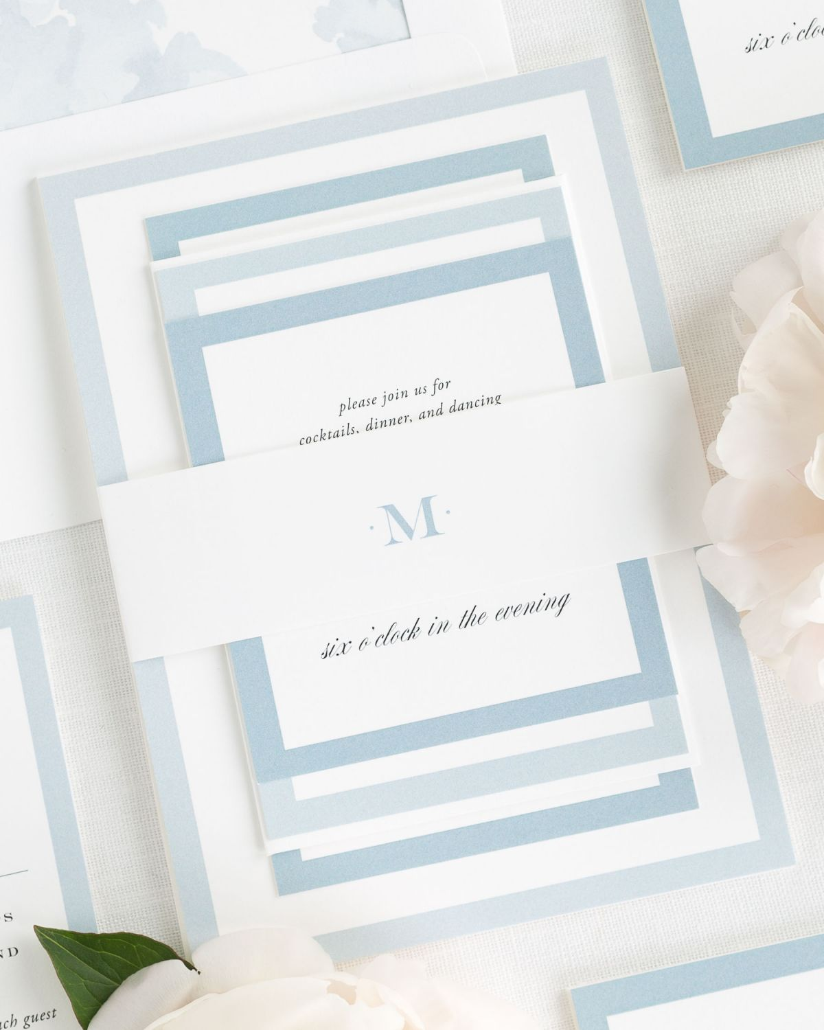 Ice Blue Wedding Invitations with Belly Band and Floral Watercolor Liner