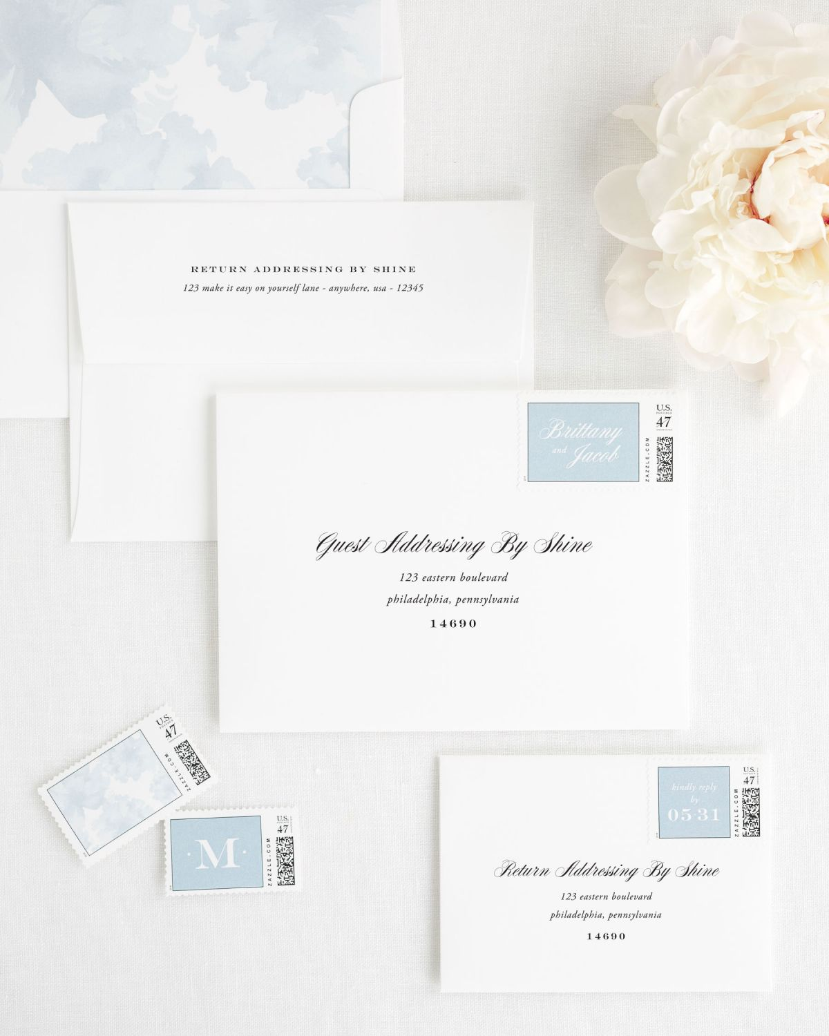Wedding Invitation Envelopes with Ice Blue Custom Stamps and Floral Watercolor Envelope Liner