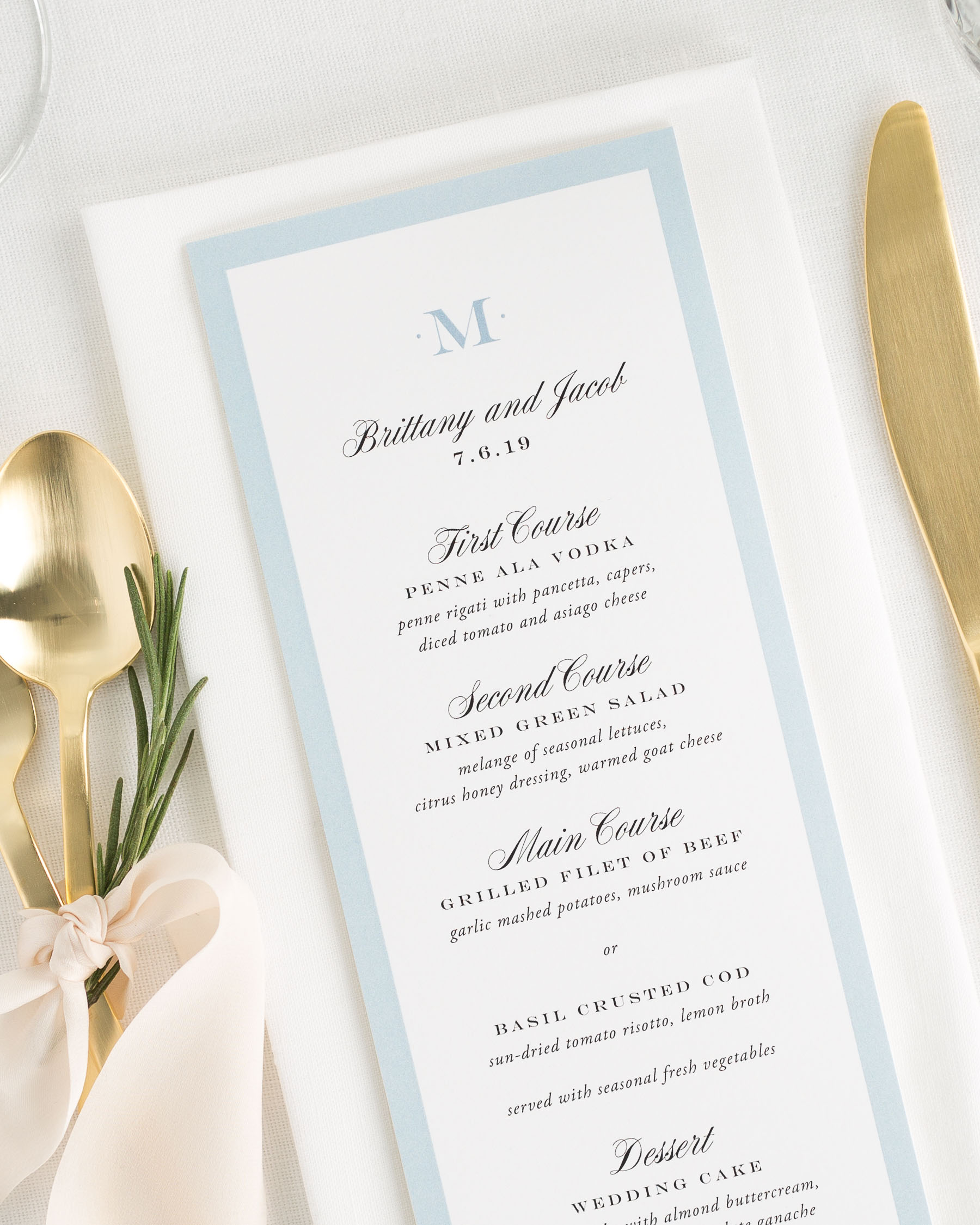 upscale monogram wedding menus