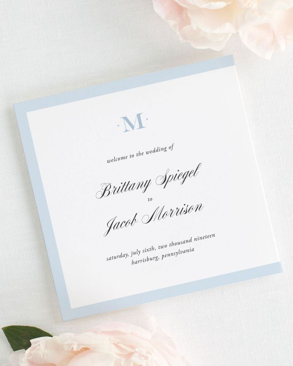 Upscale Monogram Wedding Programs