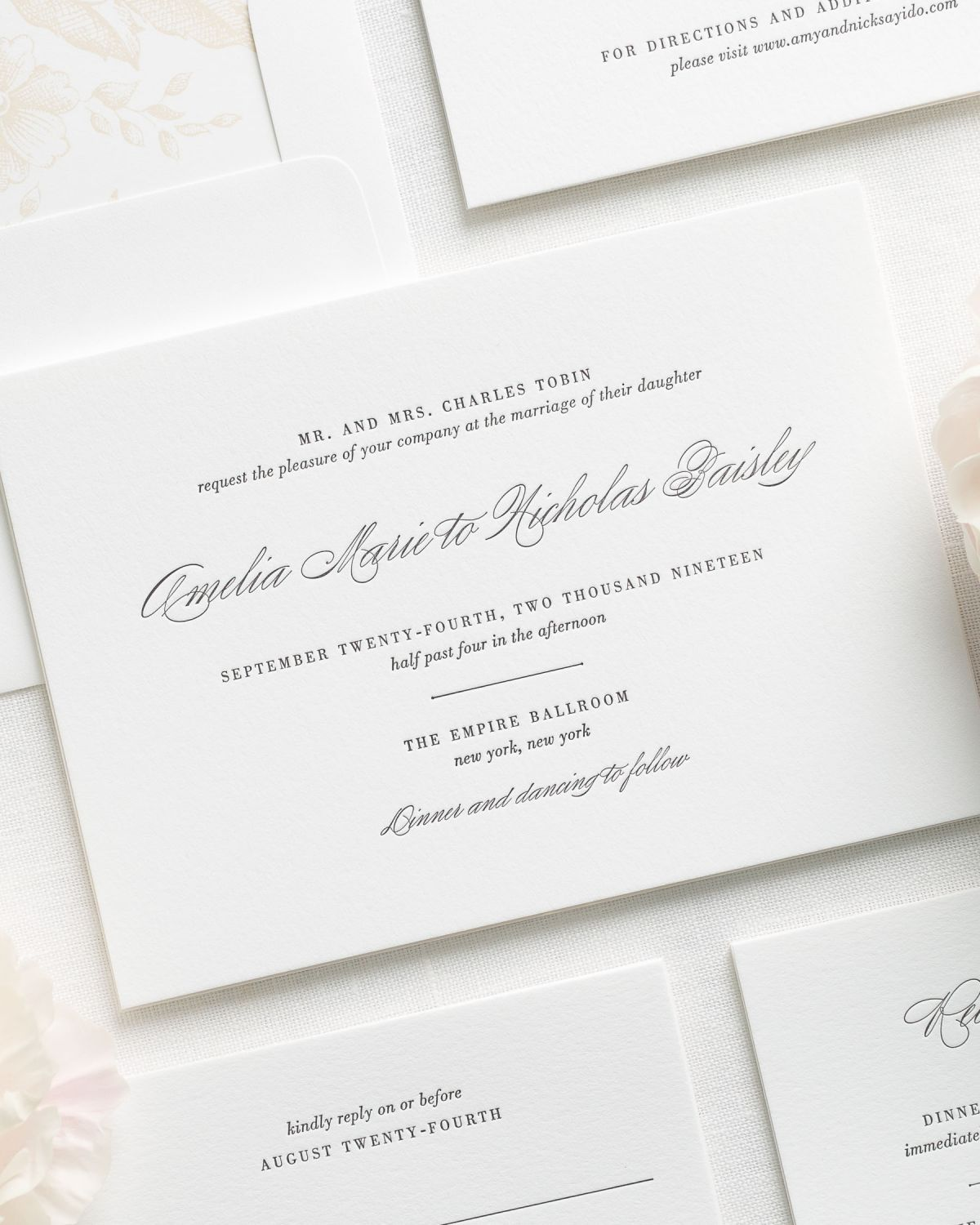 Traditional and Elegant Letterpress Wedding Invitations Wedding