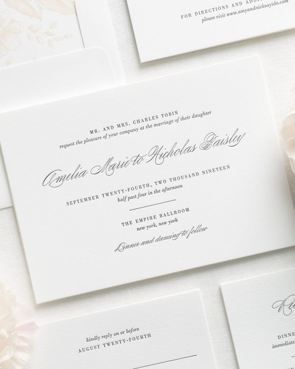 Upscale Script Letterpress Wedding Invitations