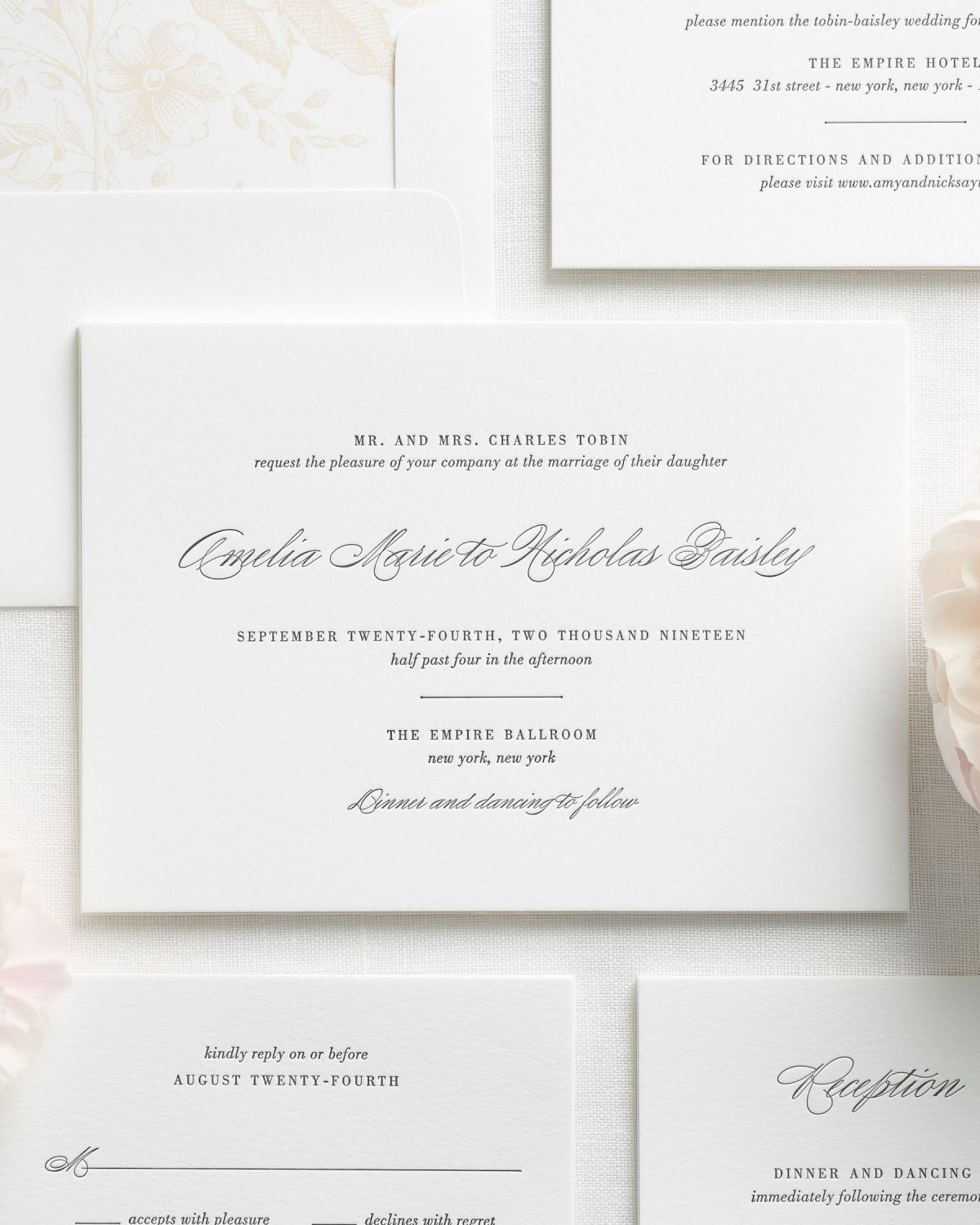 Letterpress Wedding Invitations with Traditional Script