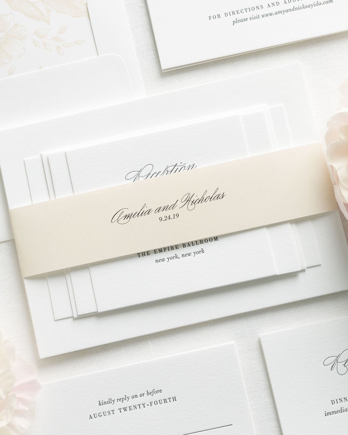 Champagne Wedding Invitations with Belly Band and Letterpress Printing