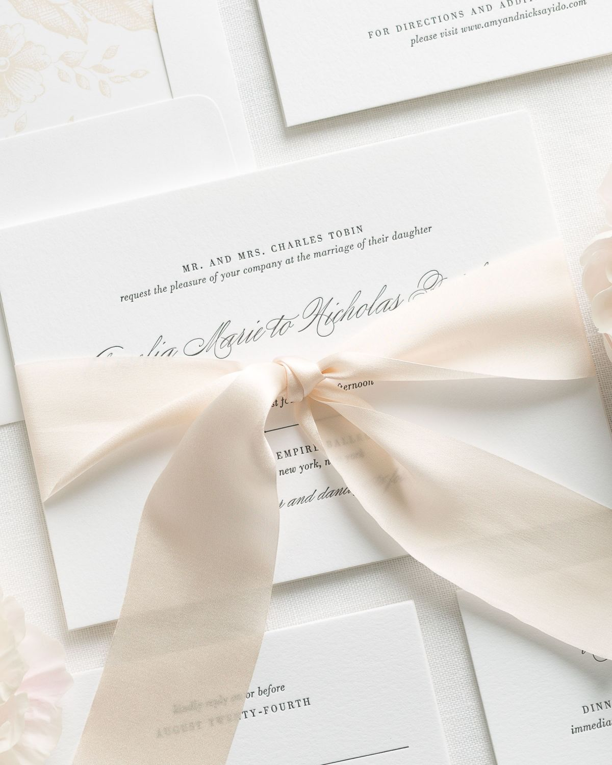 Simple and Elegant Letterpress Wedding Invitations with Silk Ribbon in Ivory