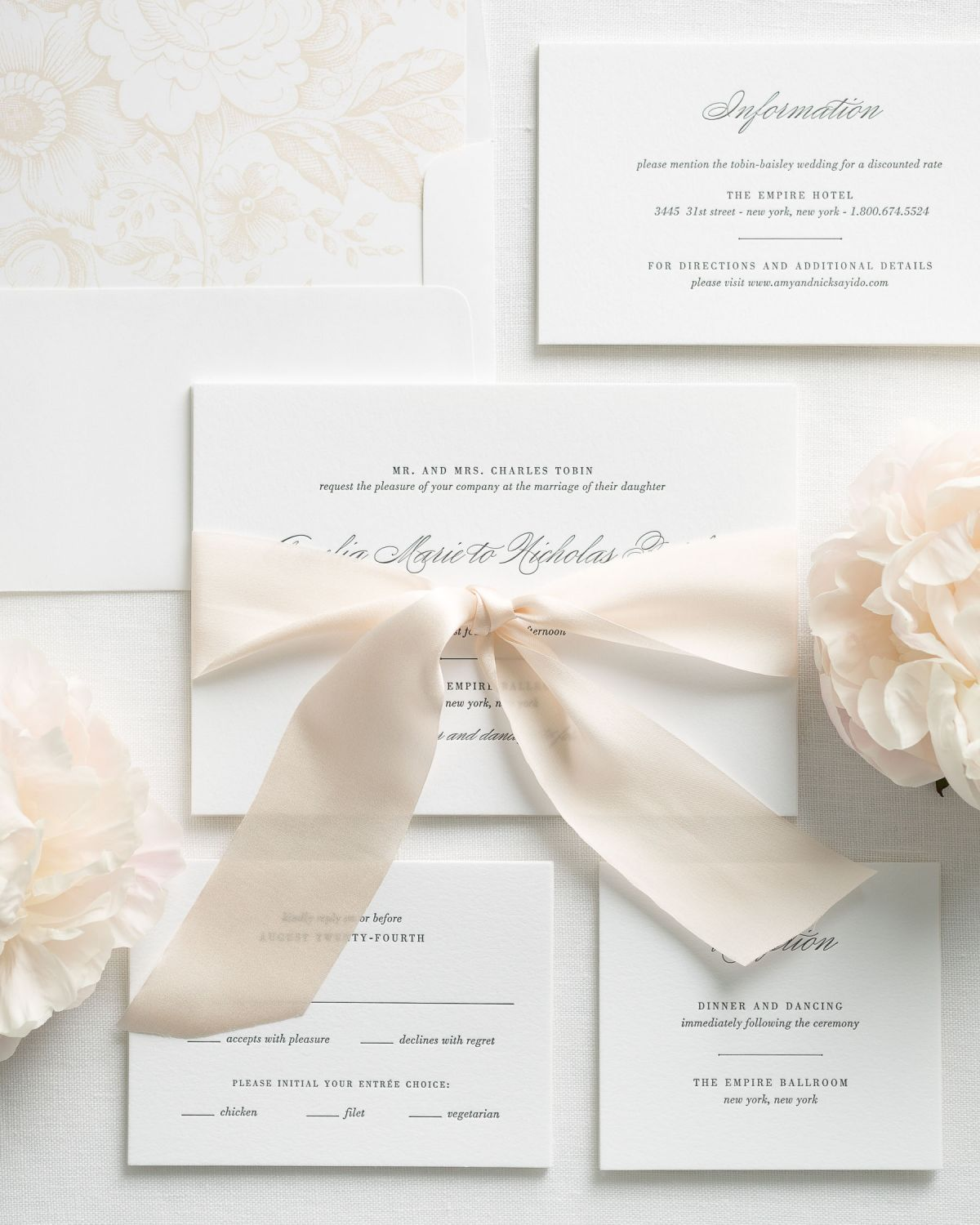 Ivory Letterpress Wedding Invitations with Silk Ribbon and Classic Script