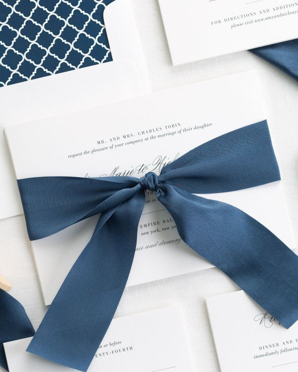 Upscale Script Ribbon Wedding Invitations