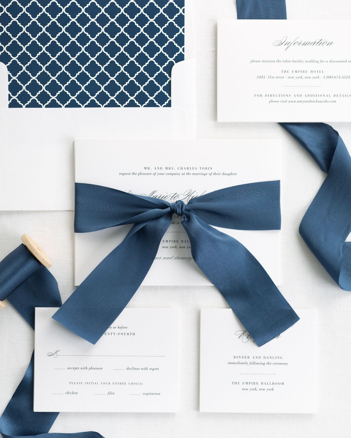Complete Wedding Invitaitons with Blue Ribbon and Enclosures