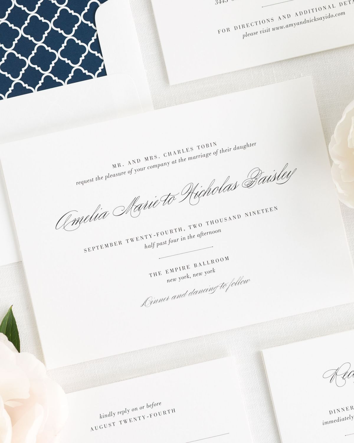 Classic Wedding Invitations in Navy – Wedding Invitations