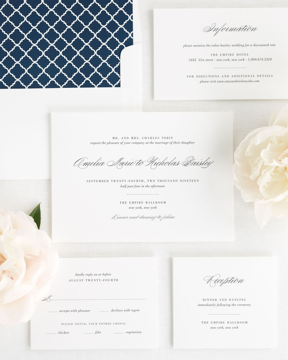 Gray Modern Calligraphy Wedding Invitations