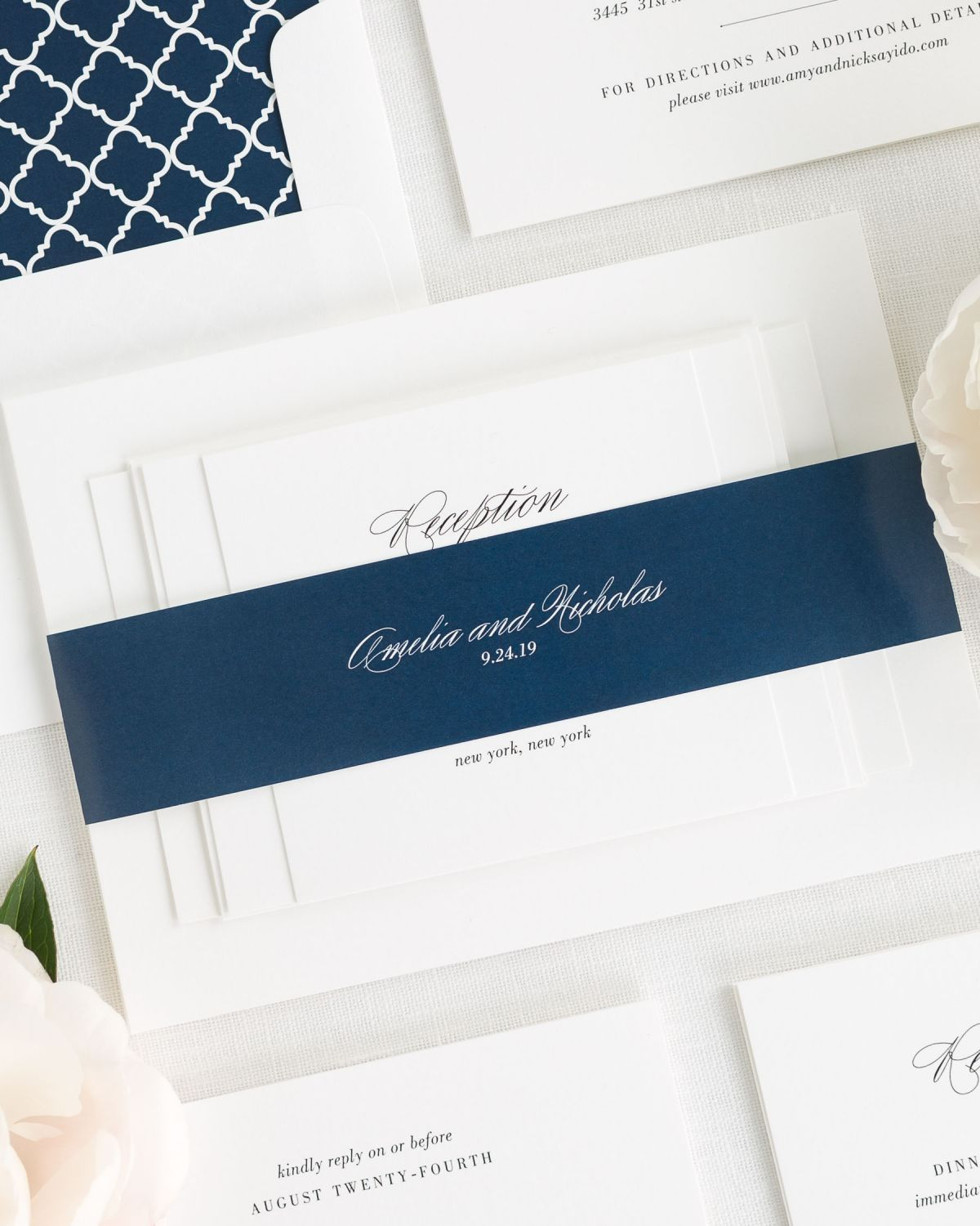 Navy Wedding Invitations with Belly Band and Trellis Envelope Liner