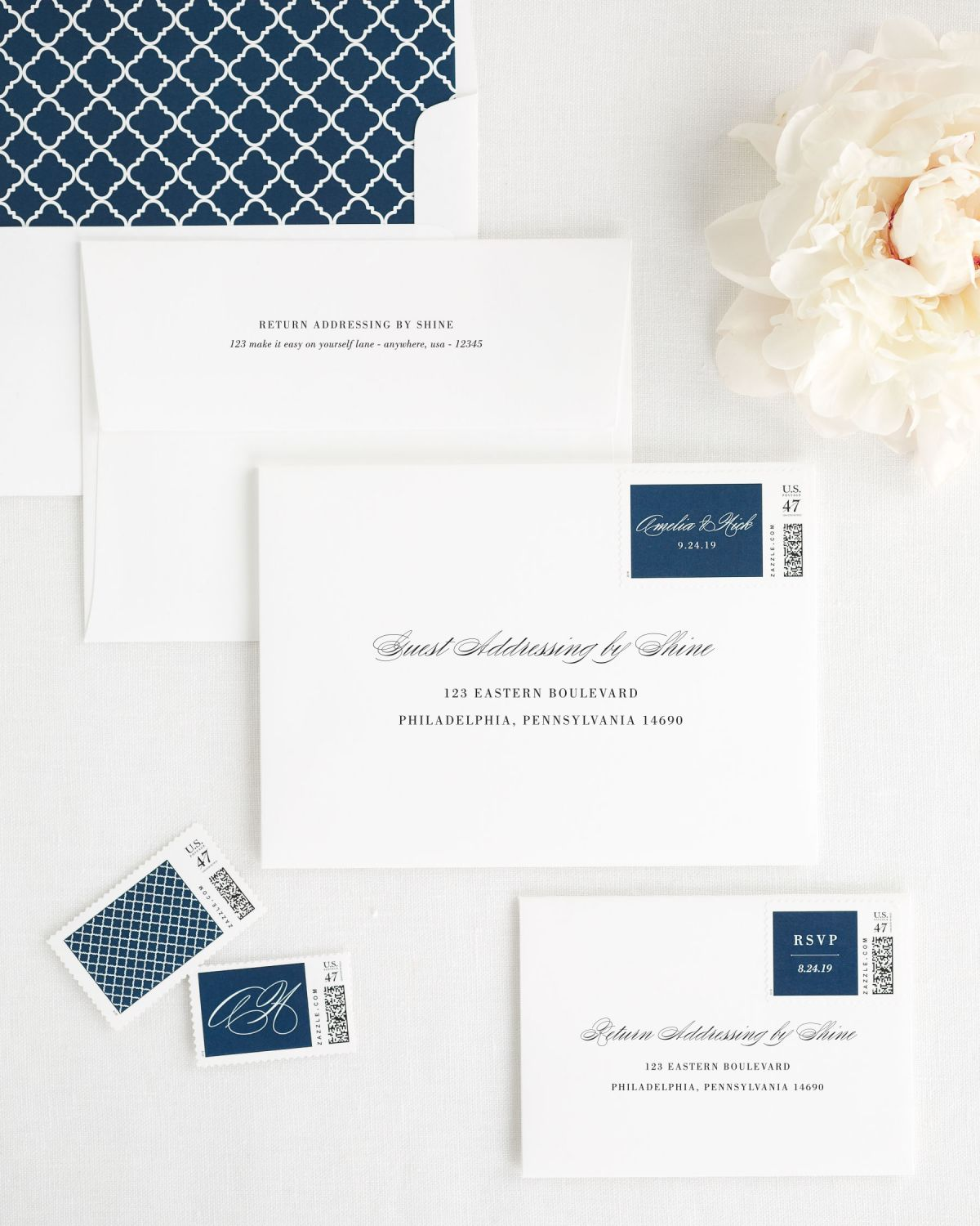 Wedding Invitation Envelopes with Navy Custom Stamps and Trellis Liner