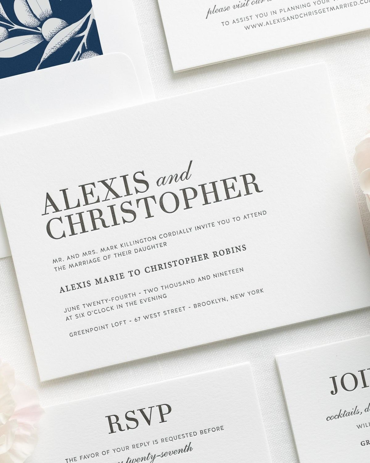 Glamorous Navy Letterpress Wedding Invitations with a floral liner