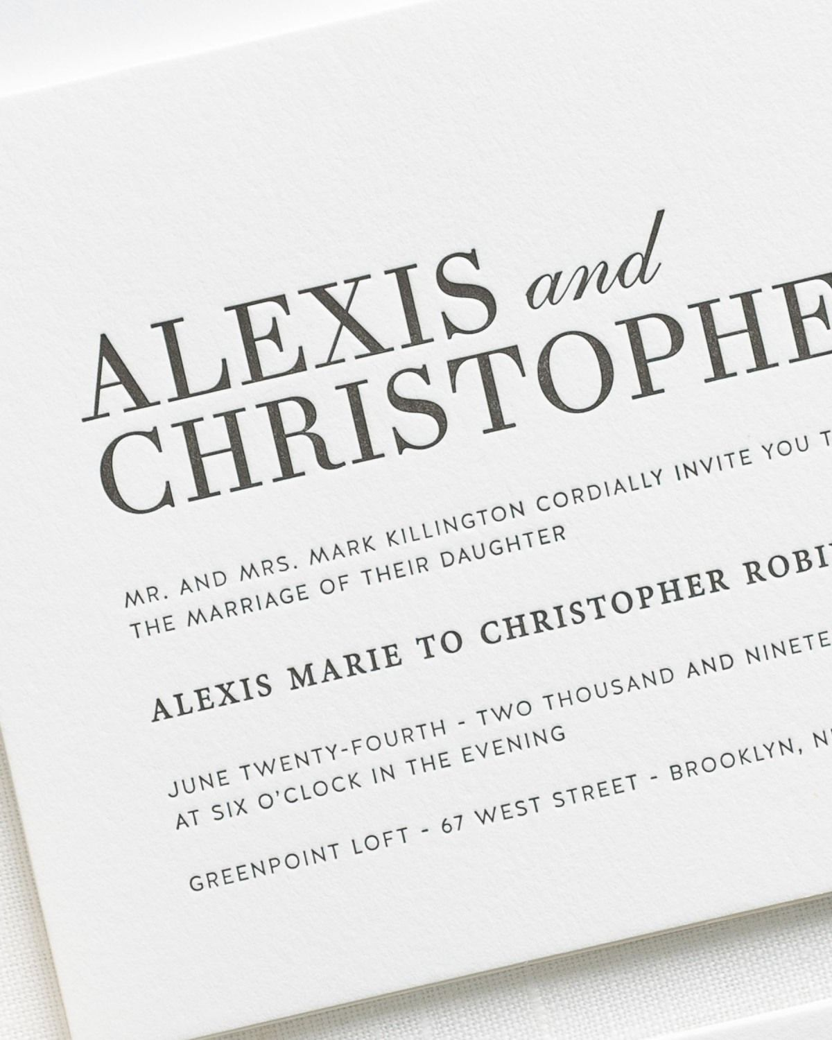 Modern Typography Letterpress Wedding Invitations