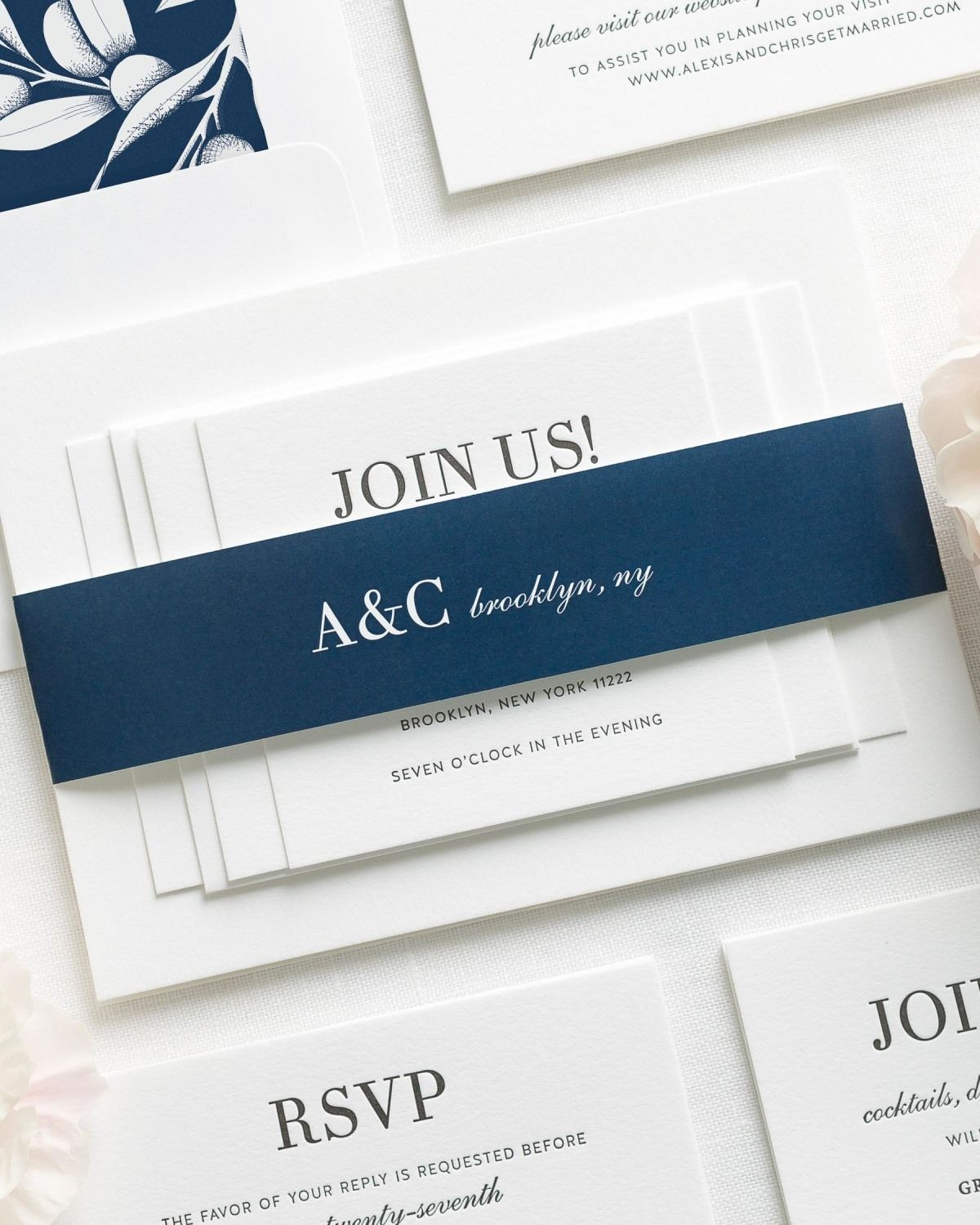 Navy Blue Letterpress Wedding Invitations with a Floral Liner