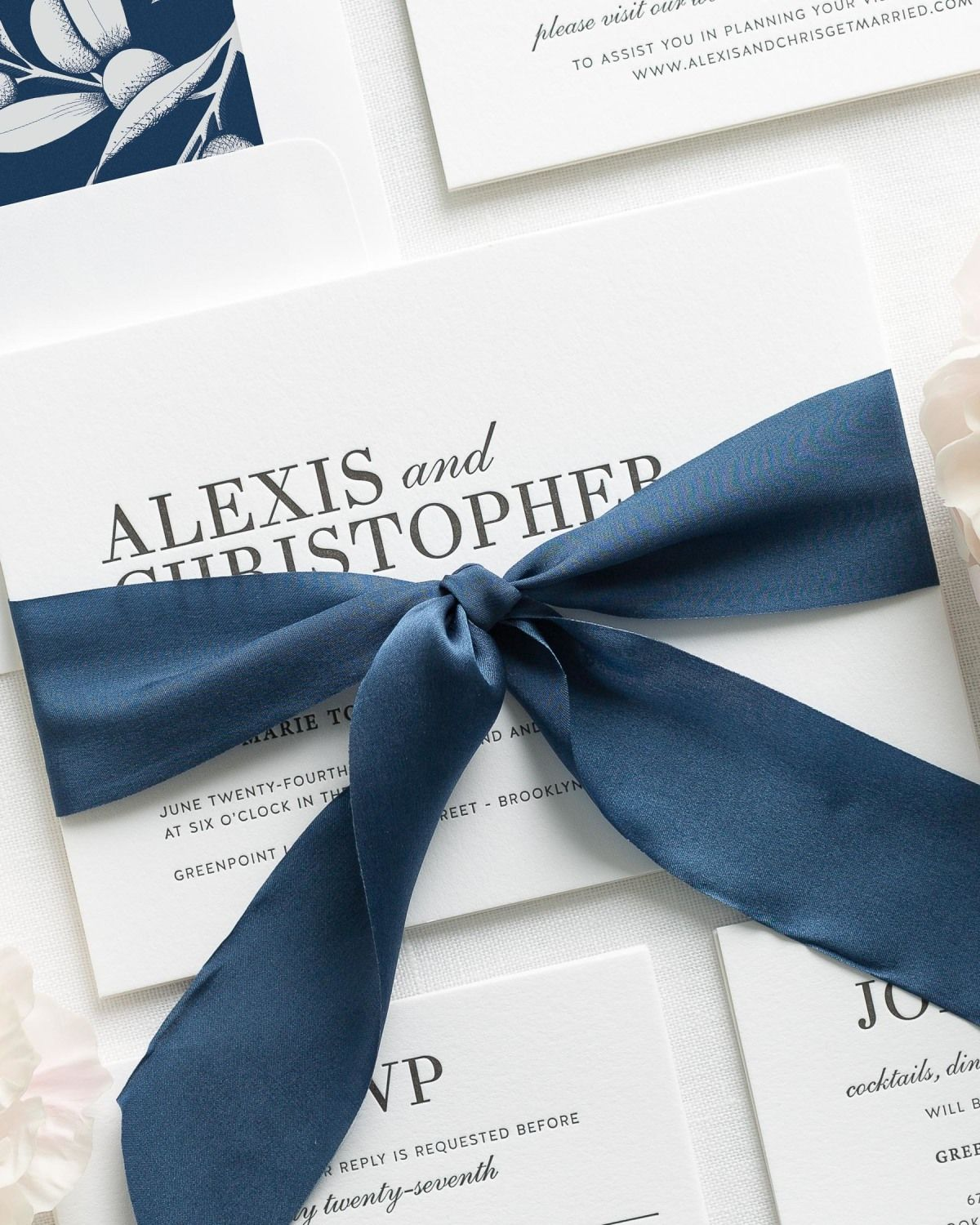 Preppy Navy Blue Wedding Invitations with Engraved Printing