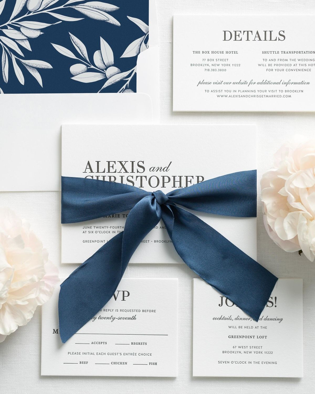 Glam Navy Letterpress Wedding Invitations