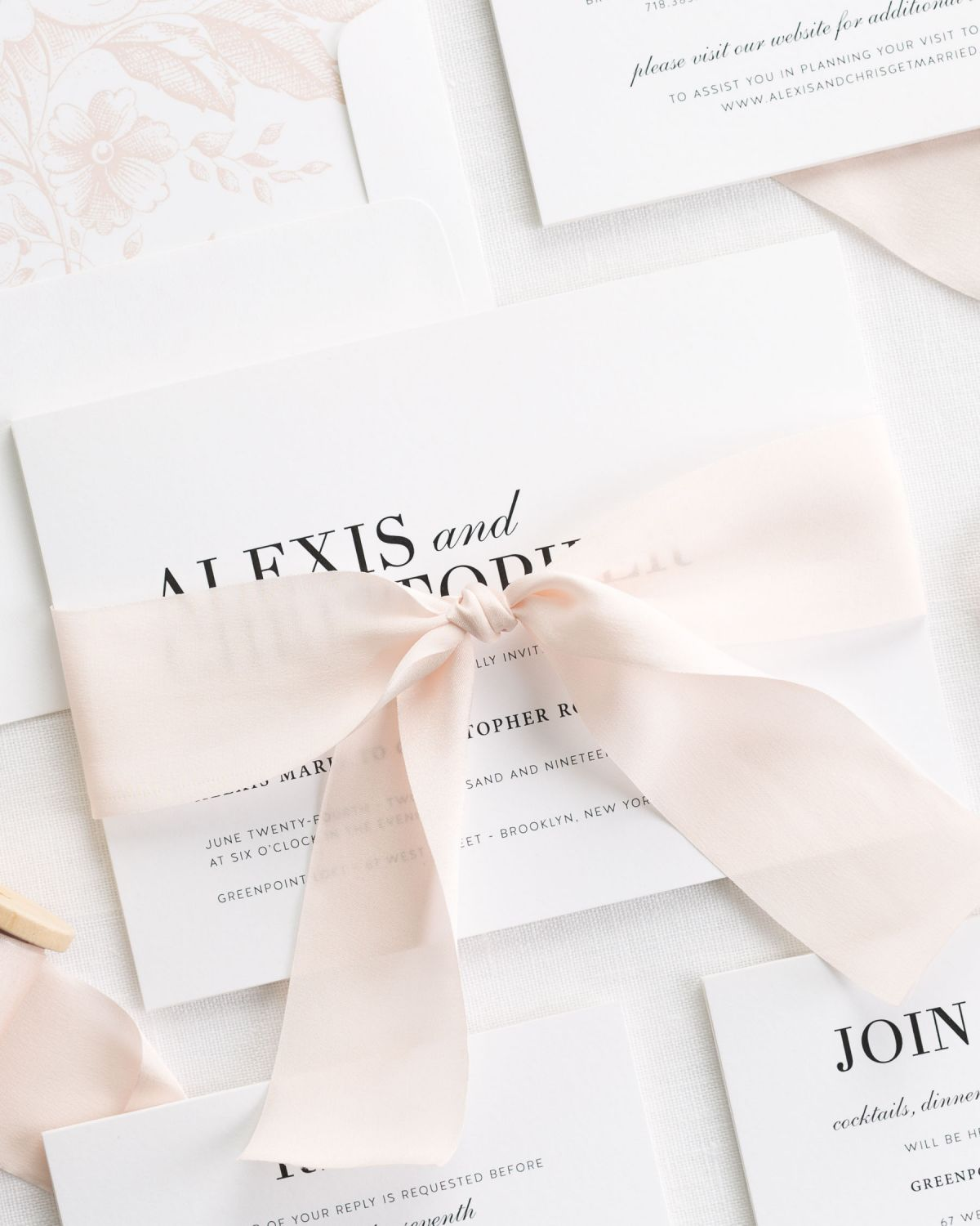 Modern Blush Pink Wedding Invitations with a Silk Ribbon and Floral Liner