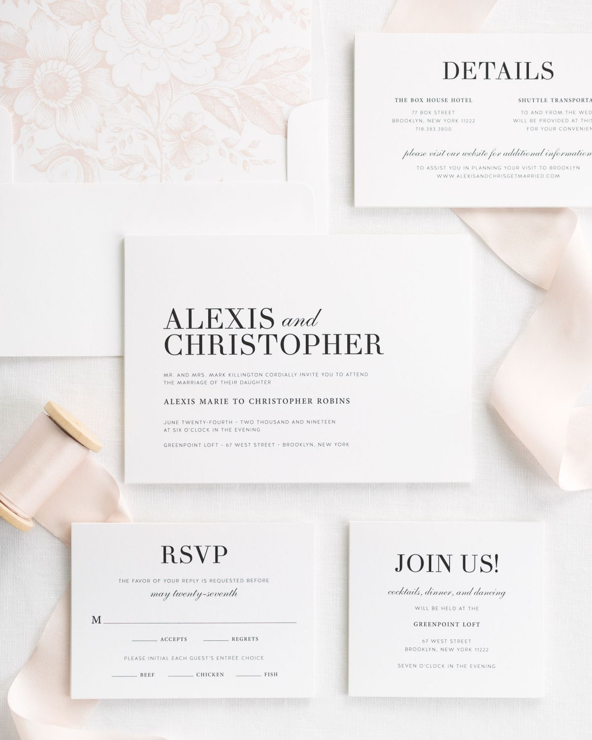 Pale Pink Wedding Invitations with a Floral Liner and Silk Ribbon
