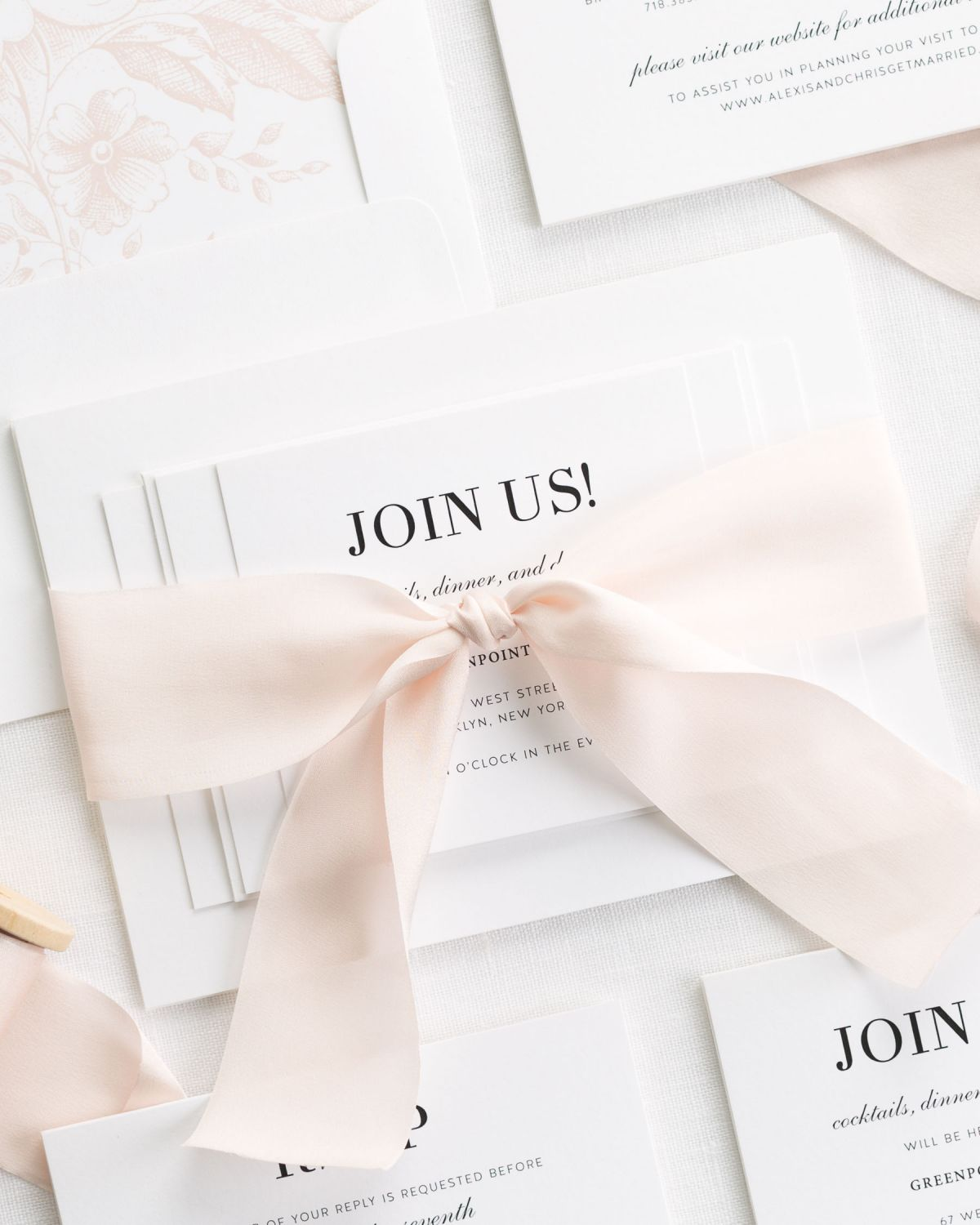 Romantic Glam Wedding Invitations with Pale Pink Silk Ribbon
