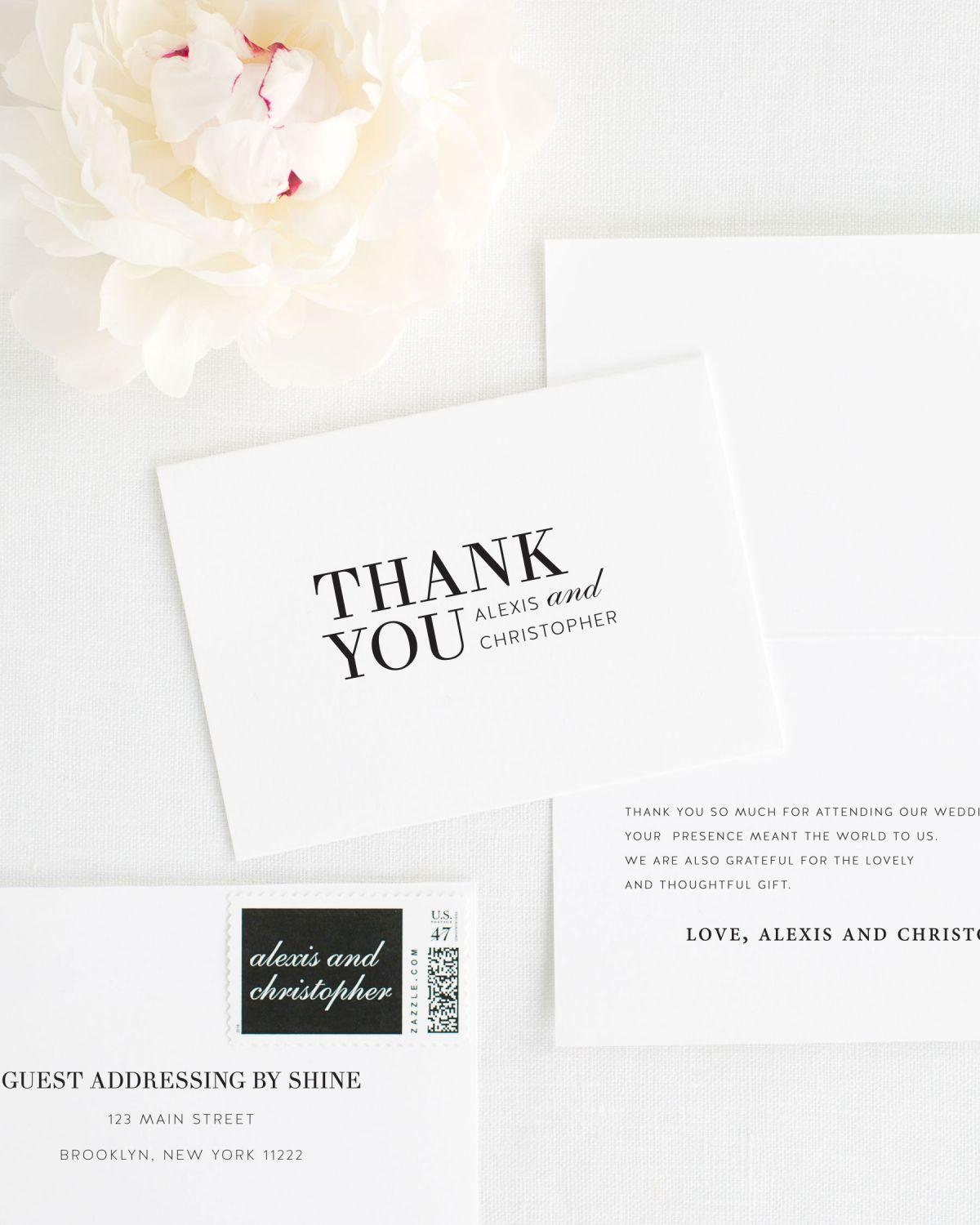 Large Non-Script Names Thank You Cards for Weddings