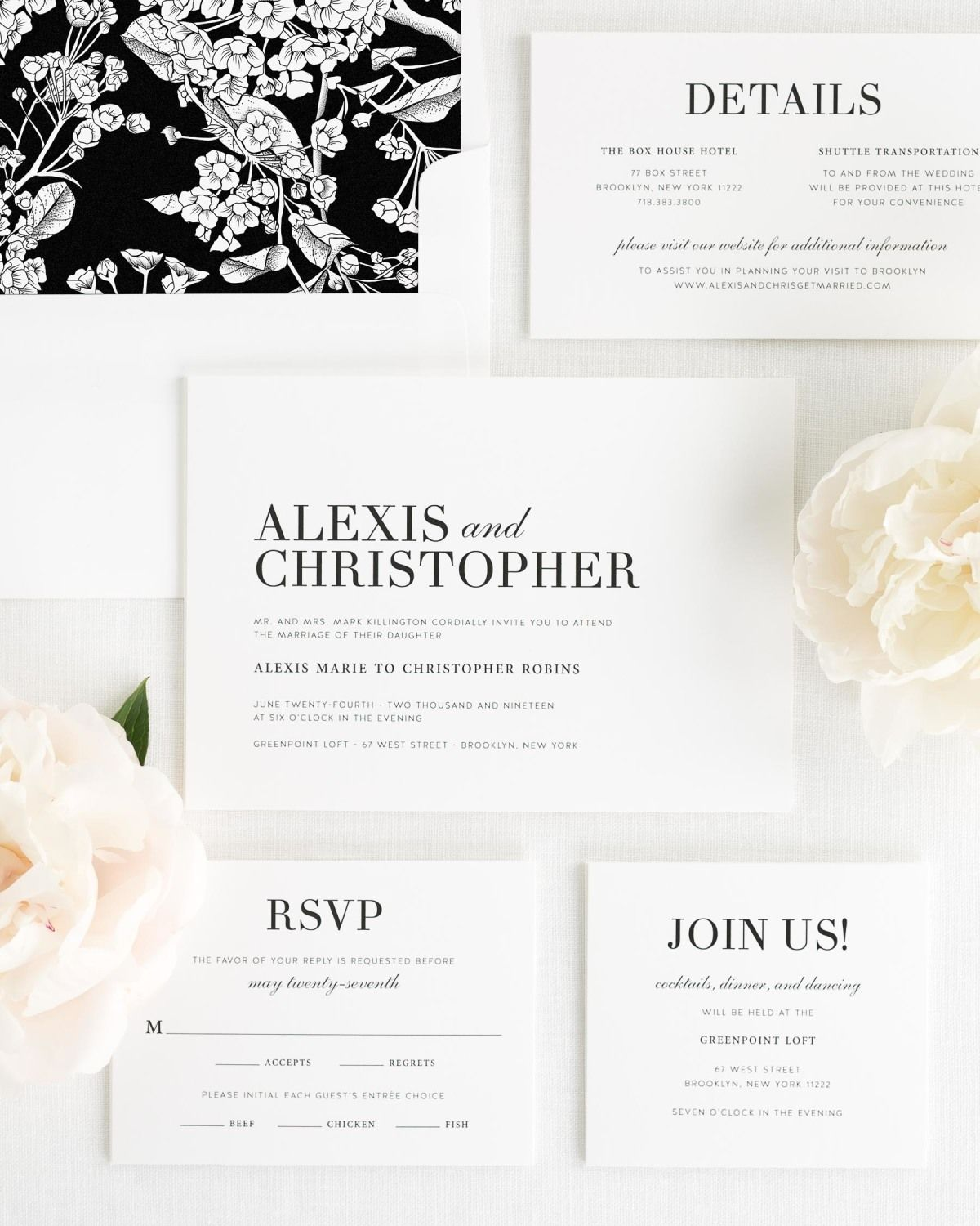 Modern Wedding Invitation Package with Black and White Striped Envelope Liner