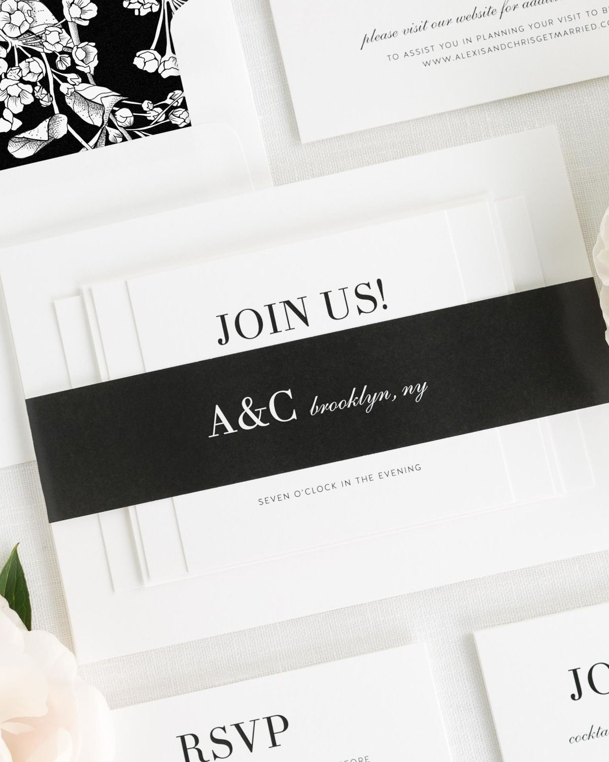 Black and White Wedding Invitations with Belly Band