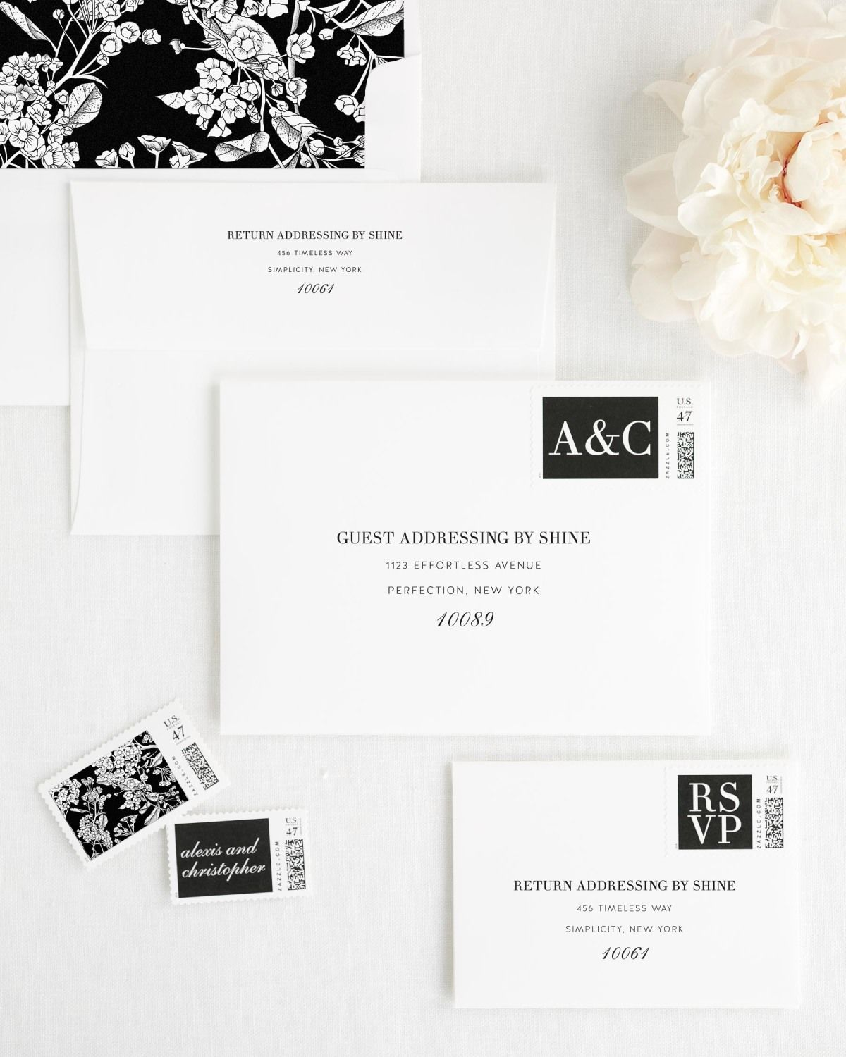 Wedding Invitation Envelopes with Black and White Postage Stamps and Striped Envelope Liner