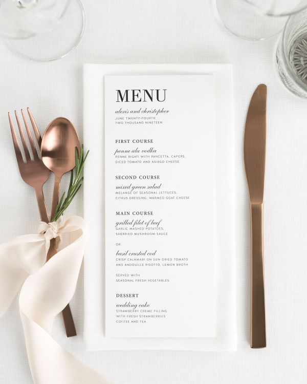 Urban Glamour Wedding Menus