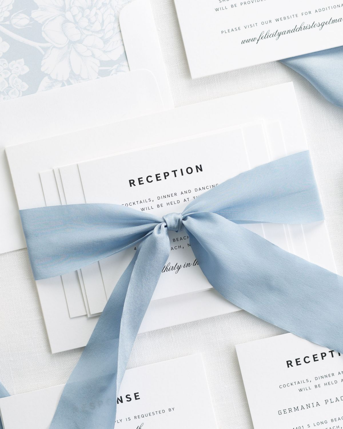 Complete Wedding Invitation Set with French Blue Ribbon and Enclosures