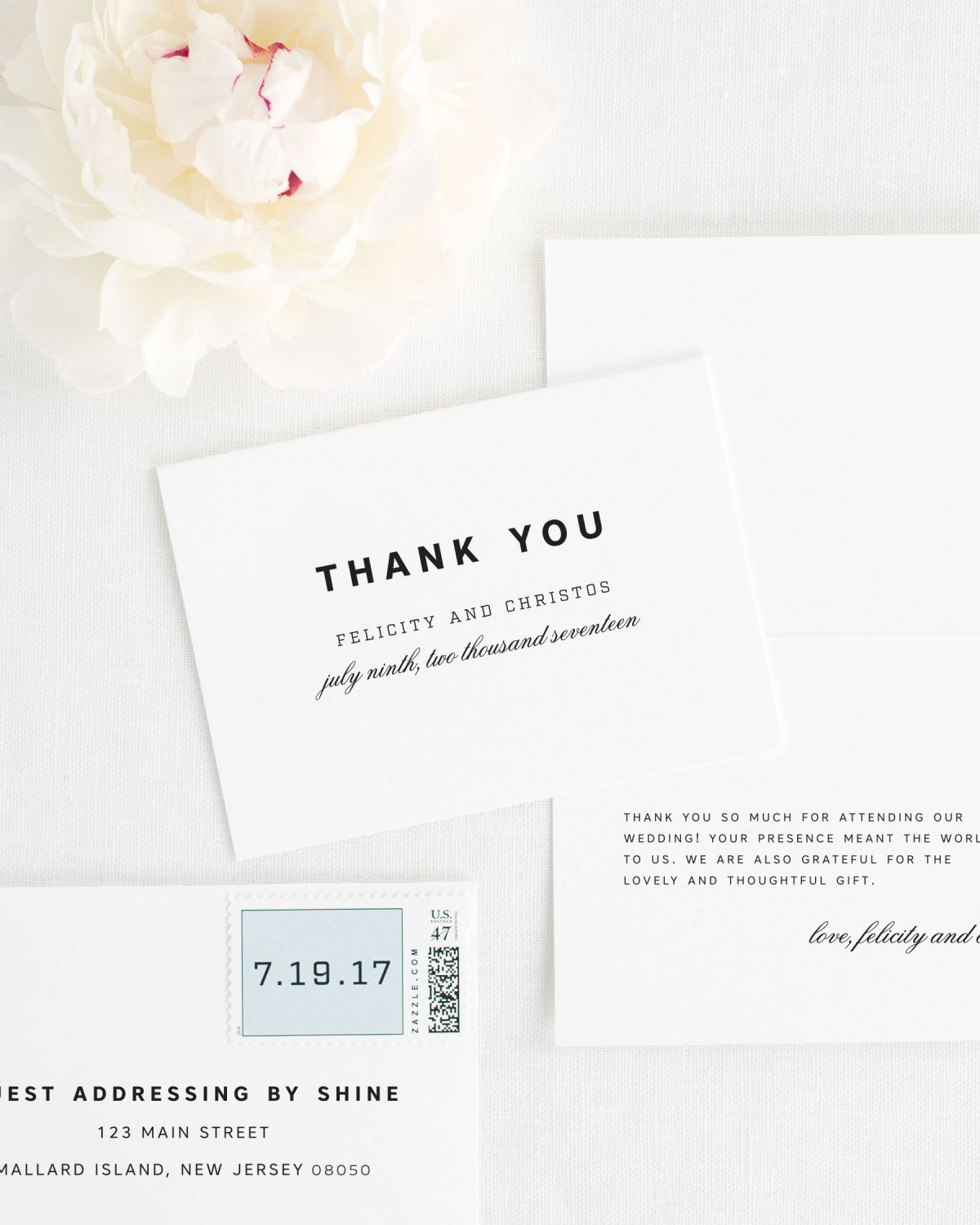 Modern Thank You Cards for Weddings