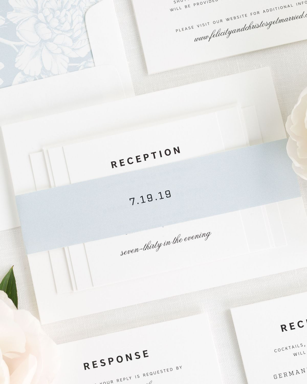 Light Blue Wedding Invitations with Belly Band and Floral LIner