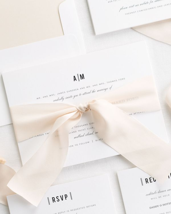 Urban Vintage Ribbon Wedding Invitations