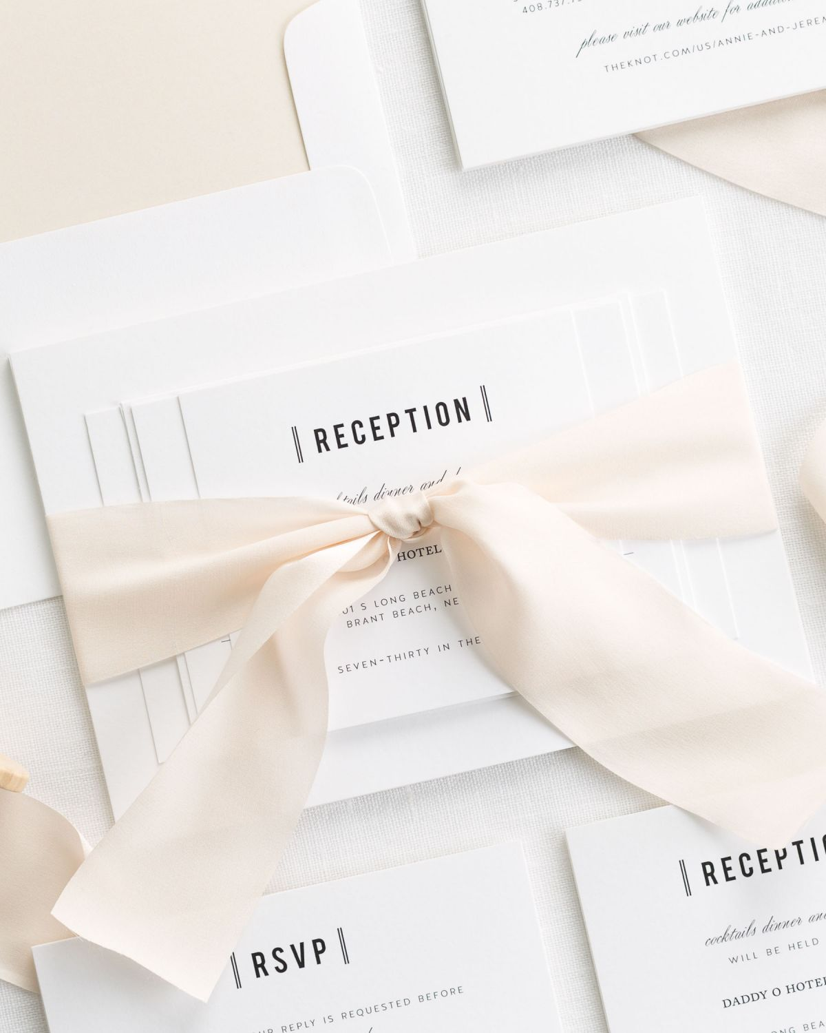 Champagne Wedding Invitations with Silk Ribbon