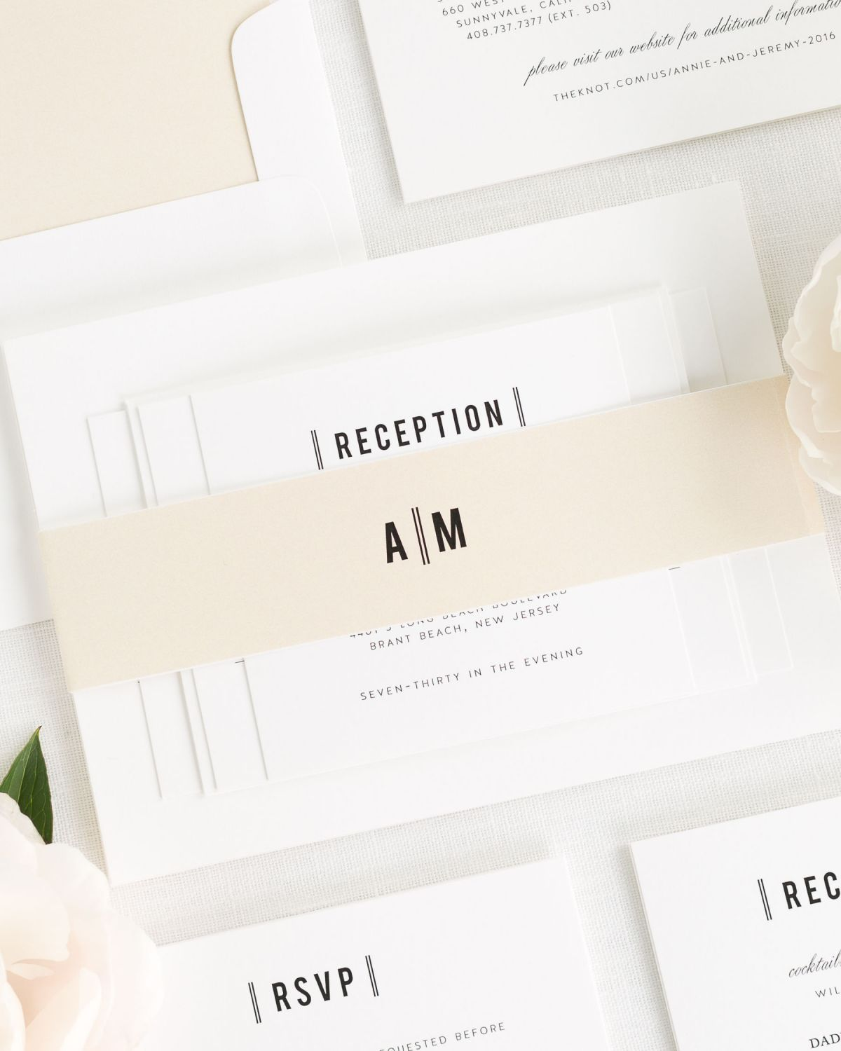 Simple Wedding Invitations with Ivory Belly Band