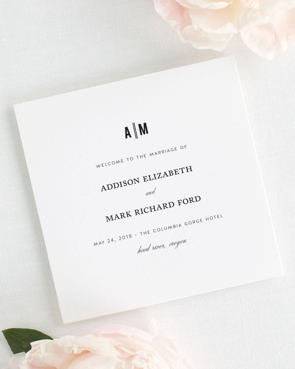 Urban Vintage Wedding Programs