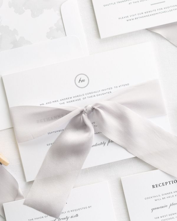 Vintage Elegance Ribbon Wedding Invitations