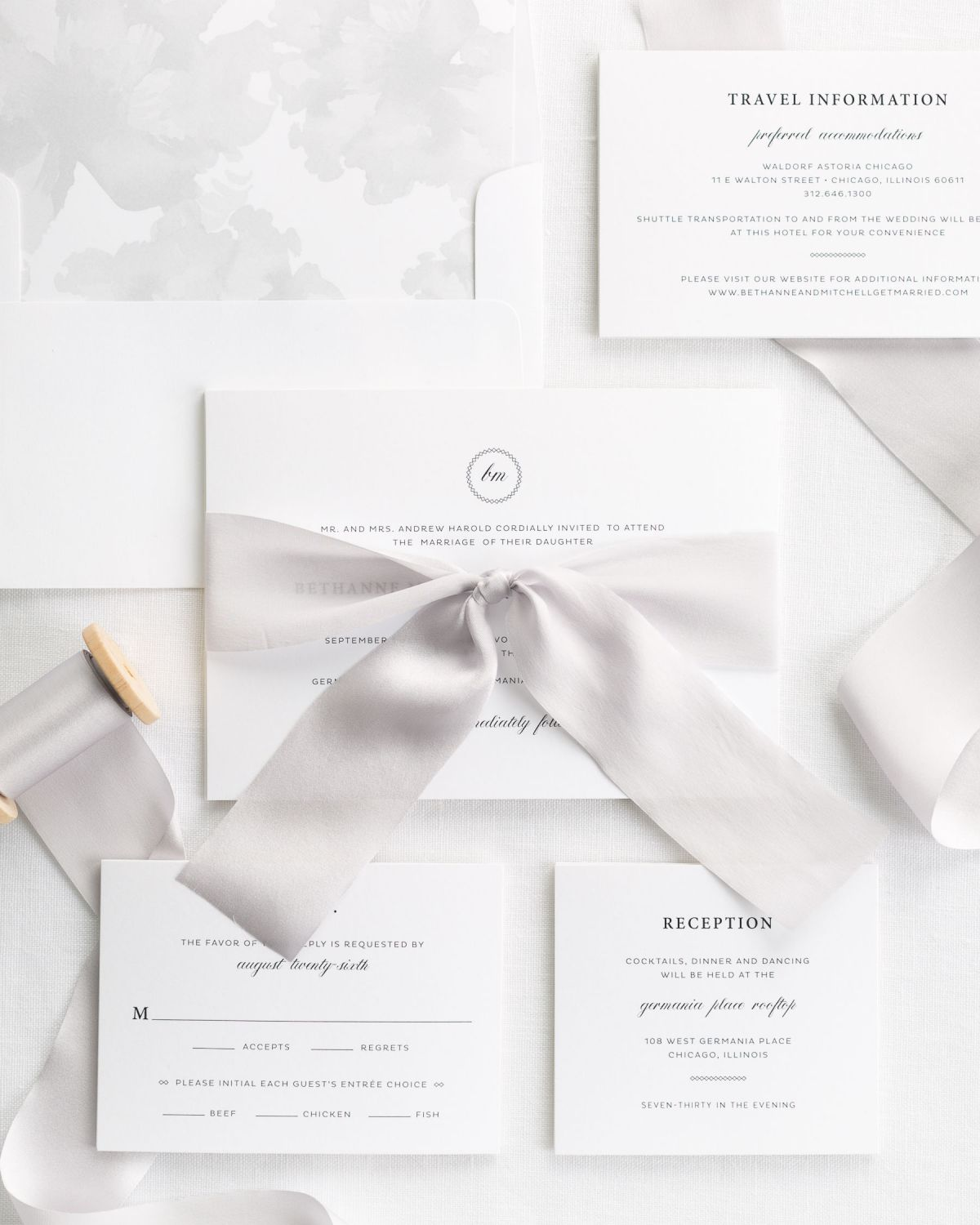 Complete Wedding Invitation Suite with Platinum Ribbon and Enclosures