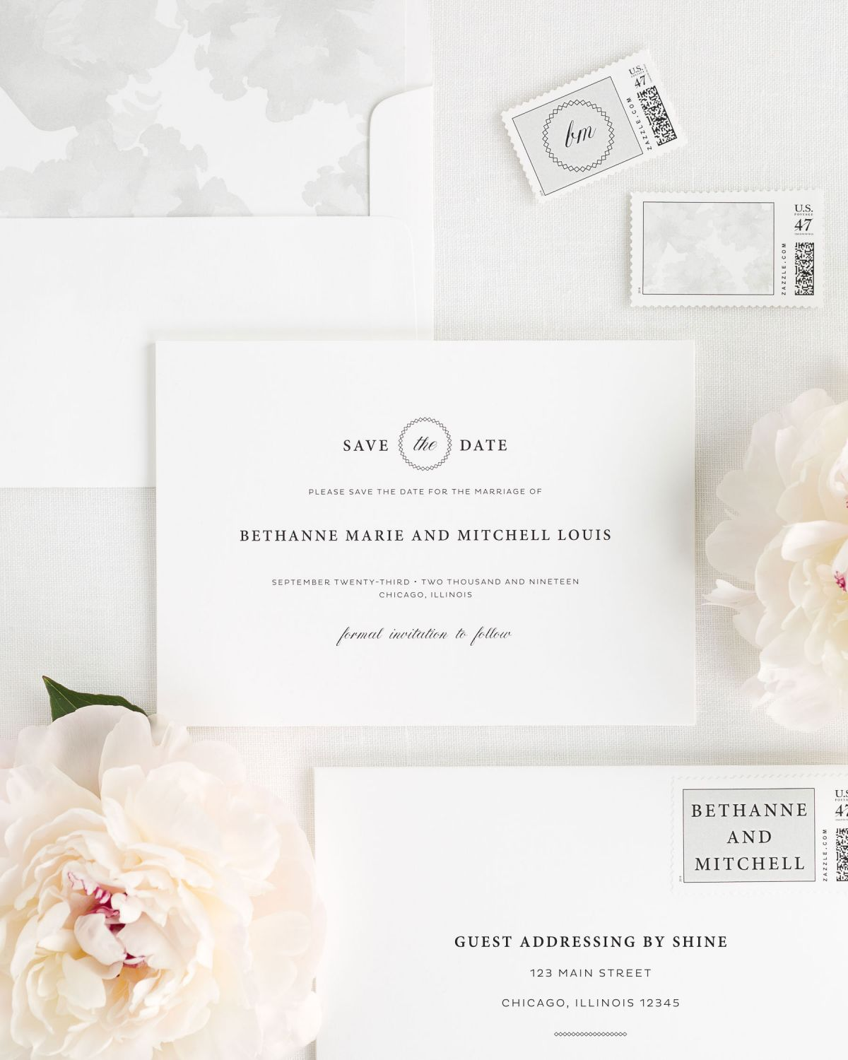 Save the Date with Light Gray Envelope Liner and Custom Postage Stamps