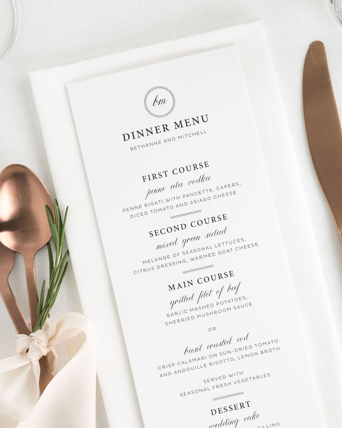 Vintage Wedding Menu with Monogram